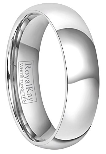 RoyalKay 2mm 4mm 6mm White Tungsten Wedding Band Ring Men Women Plain Dome High Polished Comfort Fit Size 3 to 17 (6mm,8)