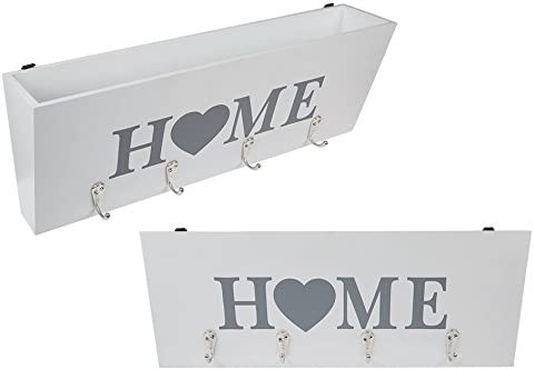 Ideal for all Homes Invero Letter Holder with Key Rack Organiser Wall Mounted Letter Tray Storage with 4 Key Hooks White//Love Home Hallways and more