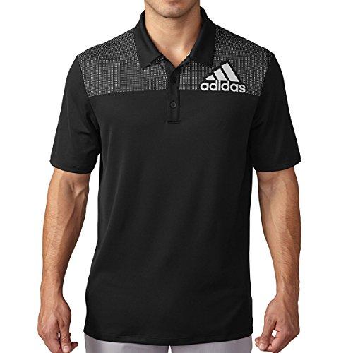 Logo Print Polo (Adidas Golf Men's Big Logo Dot Print Polo - US M - Black/Clear Grey)