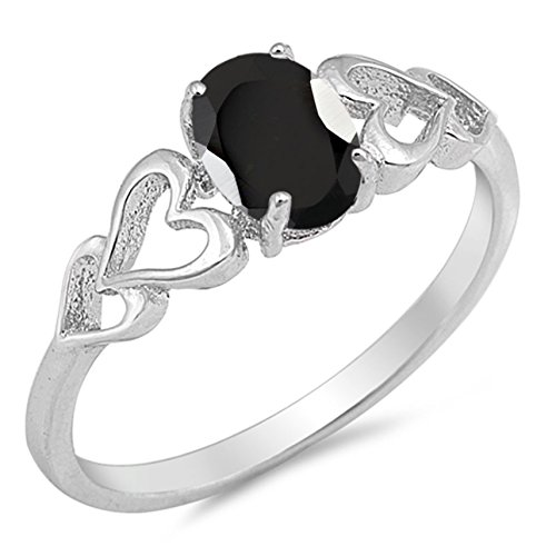 925 Sterling Silver Faceted Natural Genuine Black Onyx Oval Heart Ring Size 4