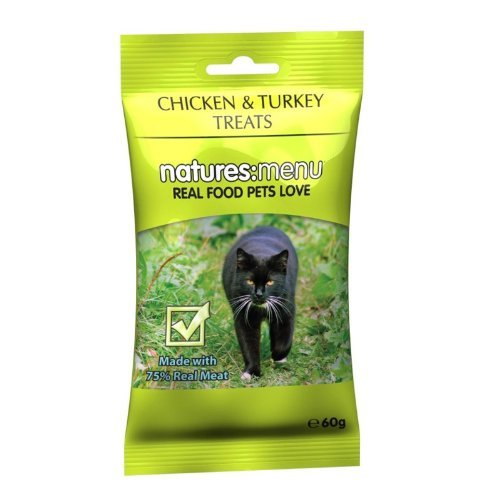 Natures Menu Chicken & Turkey Cat Treats, Made with 95% Real Meat, 6 x 60g Pouches
