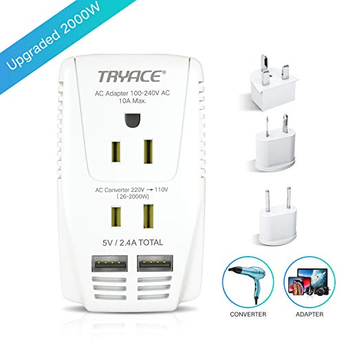 TRYACE 2019 Upgraded 2000W 220V to 110V Voltage Converter Step Down Voltage for Hair Dryer,Straightener,Curling Iron,Laptop,Cell Phone.Power Converter with 2-Port USB and UK/AU/US/EU 10A Plug Adapter (Best Hair Straightener In The World)