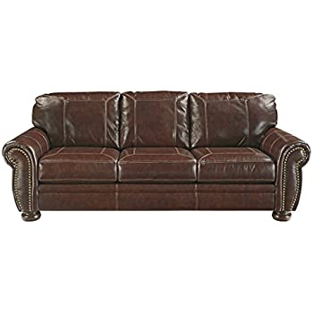 Ashley Furniture Signature Design   Banner Traditional Faux Leather Sleeper  Sofa   Queen Size Mattress Included