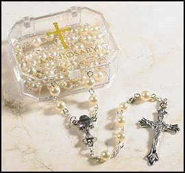 Cream First Communion Rosary, Girls Rosary, Faux Pearl