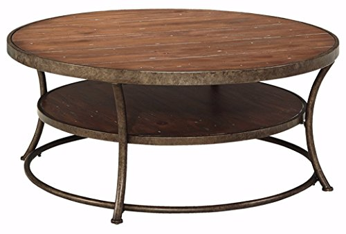 Pull Espresso Bronze (Ashley Furniture Signature Design - Vintage Casual Coffee Table - Cocktail Height - Round - Light Brown)