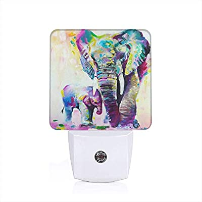 Laoyaotequ Abstract Vintage Watercolor African Elephant Art Paintings Plug-in Night Light, Smart Dusk to Dawn Sensor, White LED Nightlight, Bedroom Bathroom Hallway Kitchen Stairs Kids Nursery