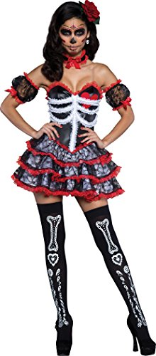 Senorita Costume Makeup (InCharacter Costumes Women's Senorita Bone-Ita Day of the dead, Black/Silver, X-Small)