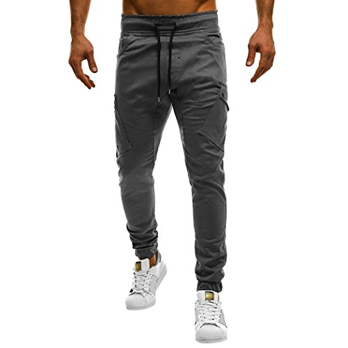 New Men Sport Casual Pant, Chrikathy Fashion Loose Sweatpants Drawstring Pure Color Bandage Straight Trousers (Gray, L) ()