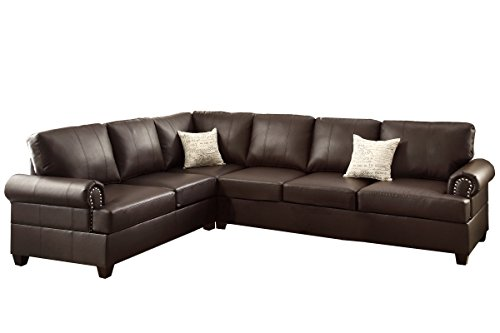 Poundex F7770 Bobkona Cady Bonded Leather Left or Right Hand Reversible Sectional, Espresso (Leather Sectional Sofa Brown)