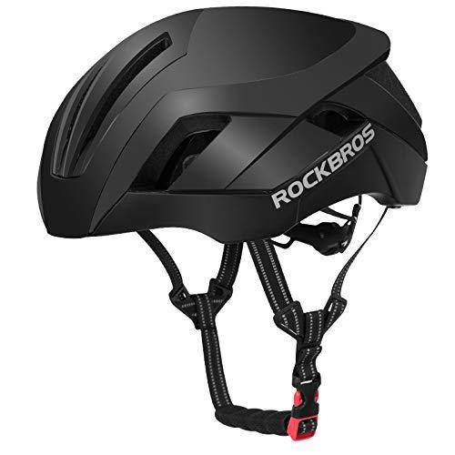 自転車ヘルメット ロードバイクヘルメット レーシングヘルメット 超軽 男女 磁気吸式帯ゴーグルサイズ57-62cm  黒ぃ B07QHVWZMJ