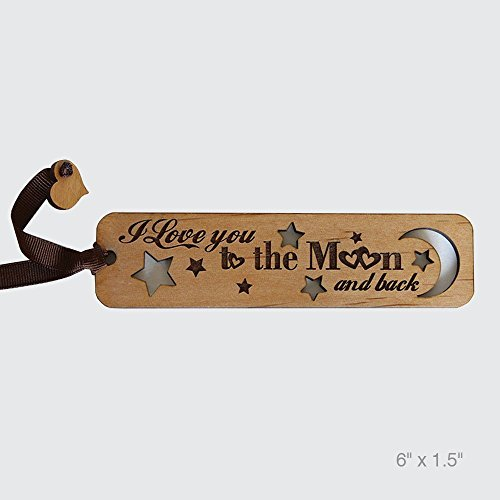 - Bella Busta- I love you to the moon Bookmark- Laser Cut and Engraved Natural Alder Wood