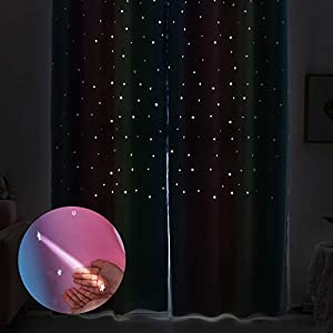 Girls Bedroom Rainbow Curtains with Sheer Double Layer Blackout Curtains