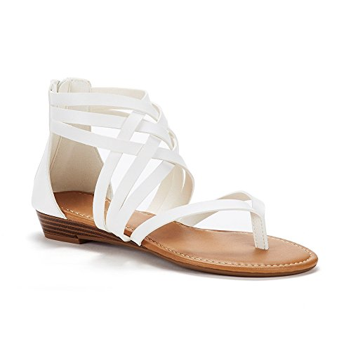 Womens Gladiator Strappy Flat Thong Criss Cross Ankle Wrap Summer Beach Sandals