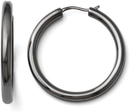 925 Sterling Silver Black-tone Polished Round Hinged Hoop Earrings