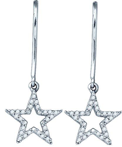 10kt White Gold Womens Round Diamond Star Dangle Earrings 1/8 Cttw (I1-I2 clarity; I-J color) (Star Gold Diamond White Earrings)