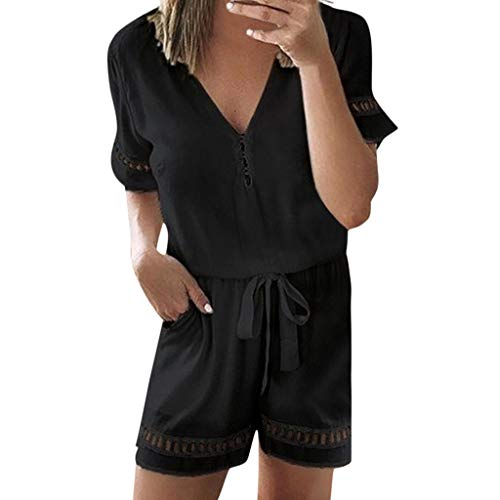(Jumpsuit Summer for Women,Women's Casual Lace Patchwork V-Neck Short Sleeve Romper with Pockets Playsuits,Girls' Jumpsuits & Rompers,Black,M)