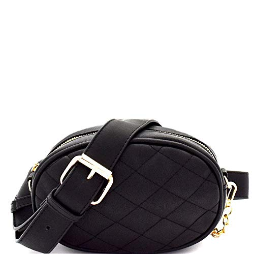 Quilted Round 2-Way Fashion PU Leather Fanny Pack Belt Bag Sling Cross Body for Travel Concert Hiking