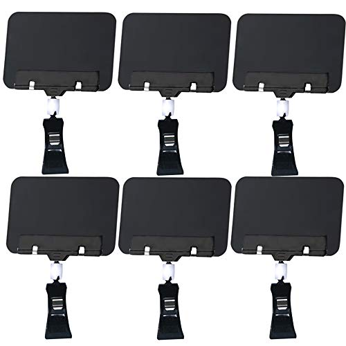 6Pc Mini Chalkboard Sign with Clip, Rectangle Double Sided Blackboard Sign Clips, Message Board Food Vegetable Labels for Party Farm Restaurant - Easy to Write and Wipe Out - for Liquid Chalk Markers