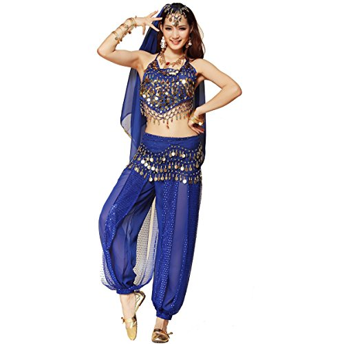 Pilot-trade Women's Belly Dance Costume 3-Pieces Beads Bells Top Harem Pants Hip Scarf Belt Dark (Dark Dance Costumes)