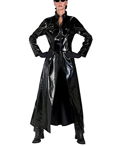Matrix Trinity Costume (TISEA Women's Halloween Cosplay Costume Black PU Leather Long Jacket (M))