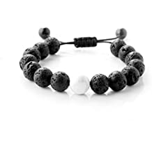 Maroamlife Lava Stone Diffuser Bracelet Lava Bead Essential Oil Aromatherapy Adjustable Braided Rope Stone Yoga Bracelet, Chakra Bracelet, Not Slide Down, Genuine Lava Stones