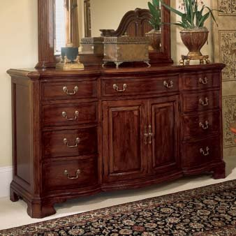 American Drew Cherry Grove 9 Drawer Triple Dresser with Doors in Antique Cherry