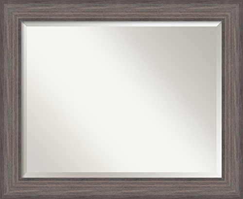 Framed Mirrors for Wall | Country Barnwood Mirror for Wall | Solid Wood Wall Mirrors | Medium Wall Mirror 33.25 x 27.25