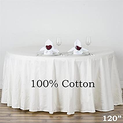 BalsaCircle 120 Inch Ivory Premium Round Cotton Tablecloth Table Linens  Wedding Party Events Decorations Kitchen