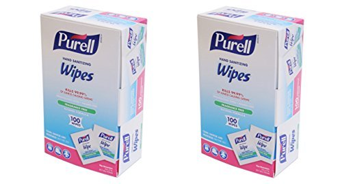 Purell 9022-10 Sanitizing Hand Wipes, Individually Wrapped (Pack of 100) (2 Boxes)