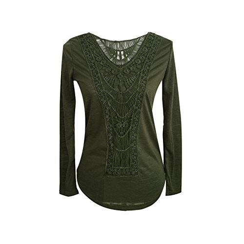 Silhouette Cotton Blouse - Rebecca Silhouettes Women's Long Sleeve Flower Crochet Fitted Summer Light Blouse (Green, Large)
