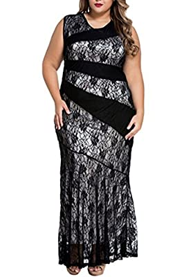 Veroge Womens Plus Size Sleeveless Lace Splice Mermaid Ball Prom Maxi Dress