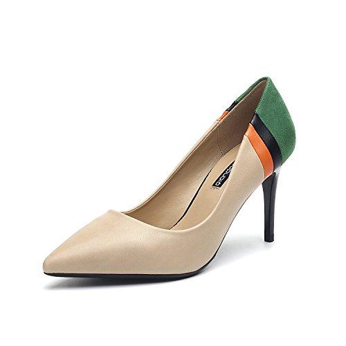 color zapatos Singles punta tacones de elegantes costuras con Beige luz de elegantes fina femeninos 75qa5ZF