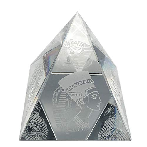 Waltz&F Crystal Pyramid Figurine Collectible,Glass Pyramid Paperweight with Egyptian Style Design ()