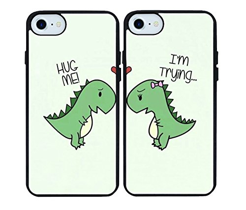 iPhone 7/iPhone 8 Case,Cartoon Cute Little Dinosaur Couple Lovers Best Friends Forever Rubber Phone Cover Case for iPhone 7/iPhone 8 4.7 inch for $<!--$5.99-->