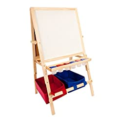 Children's imaginations are boundless, and now you can provide them with the means to encourage their limitless creativity! This innovative kids' easel is made from sturdy, solid hardwood and weighs in at a hefty 17 lbs., ensuring its stabili...