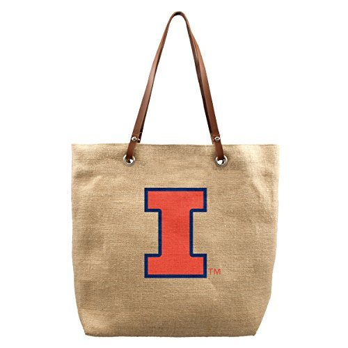 NCAA Illinois Illini Burlap Market Tote, 17 x 4.5 x 14-Inch, Natural by Littlearth