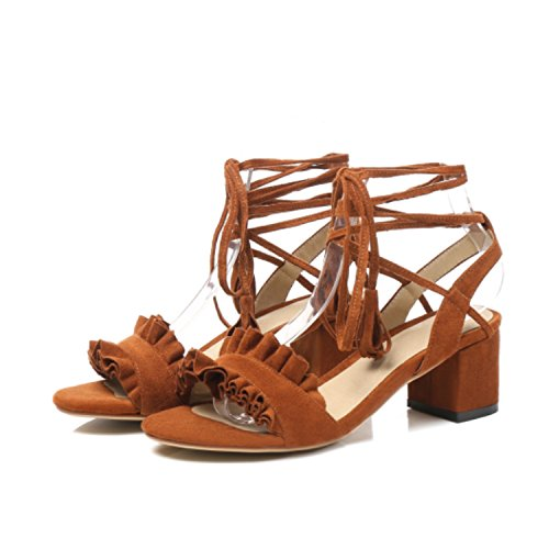 Summer-lavender Women Sandals Ankle Strap Lace up Size 34-43 Ruffles Tassel High Square Heels Women's Shoes,Brown,8.5 (Shoe Golf Leather Euro)