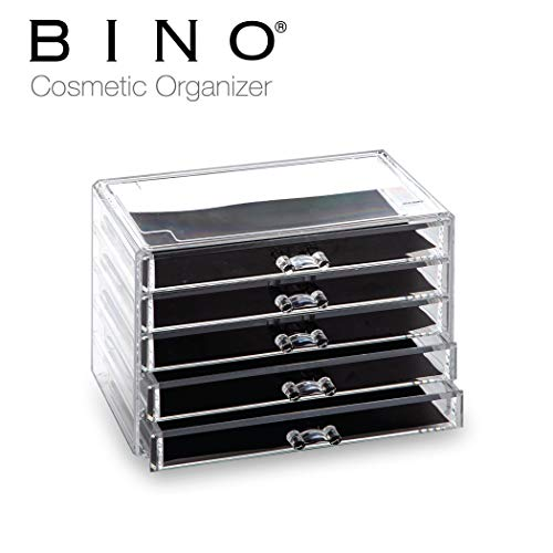 Storage Organizer 5 Drawer Display - BINO 5 Drawer Acrylic Jewelry and Makeup Organizer, Clear Cosmetic Organizer Vanity Storage Display Box Make Up Organizers And Storage Makeup Stand