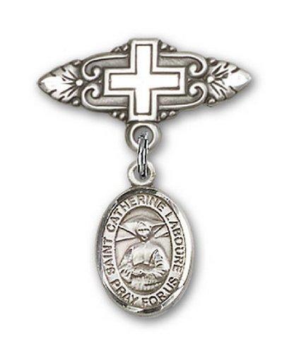 Icecarats Créatrice De Bijoux En Argent Sterling St. Catherine Labouré Broche De Badge Charme Avec Une Croix X 3/4