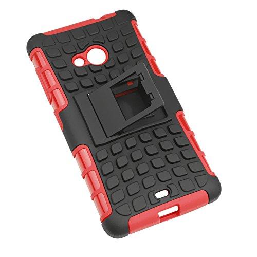 Lumia 535 Funda Case, Moonmini® Neumáticos raya híbrido combinado de alto impacto resistente a prueba de golpes Defensor cubierta de la caja con pata de cabra para Nokia Lumia 535 - Blanco / White