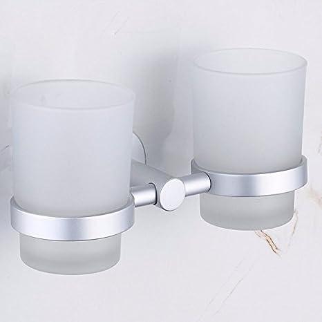 CNBBGJ Baño cepillo de perforación libre, espacio de rack baño de aluminio, doble portavasos: Amazon.es: Hogar