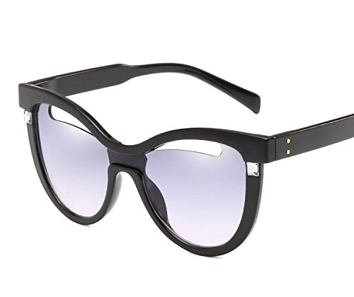 New fashion rice nail cat eye personality sunglasses,Transparent green frame on black under the ()