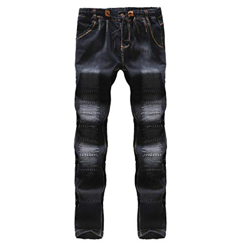 Realdo Hot!Clearance Sale Mens Casual Slim Personality Solid Elastic Splice Work Cargo Trousers Jeans Jogger Pants(30,Black) by Realdo (Image #3)
