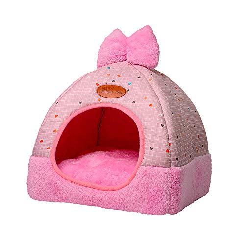 laamei Cat Tent Bed 2-in-1 Cat Tent Plaid Print Triangle Two Way Conversation Cat Dog Bed with Bow Large Pink 1515 Inches ()