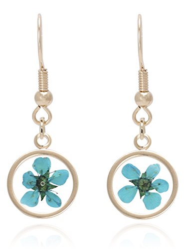 BONALUNA Pressed Flower Yellow Gold Plated Circle Dangle Drop Earrings (Glass Pressed Marble)