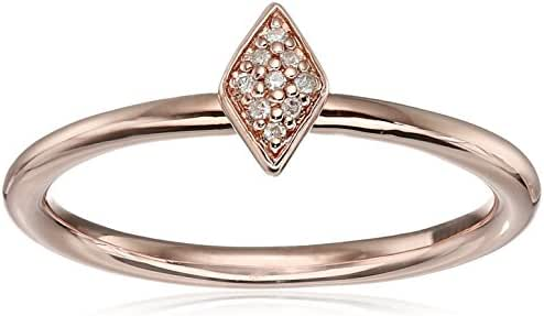 Sterling Silver with Pink Gold Plating Diamond Ring, Size 7