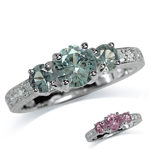 3-Stone Simulated Color Change Alexandrite White Gold Plated 925 Sterling Silver Ring Size (Simulated Alexandrite Ring)