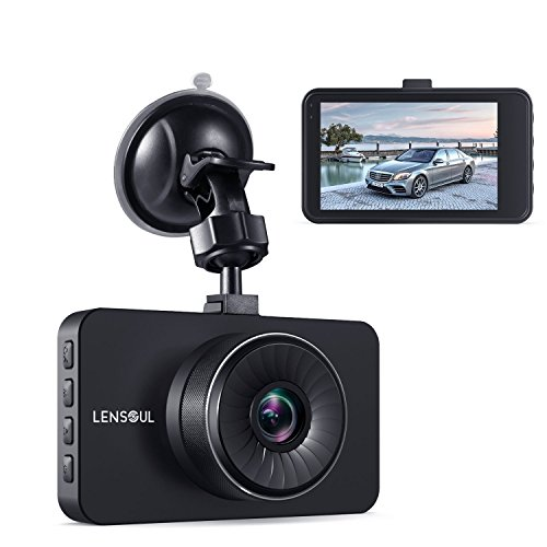 Lensoul Dash Cam, Dashboard Camera Recorder with Full HD 1296P, 3″ LCD with WDR, Loop Recording, G-sensor, Parking Monitoring, Motion Detection