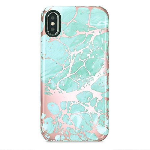 iPhone X Case/iPhone XS Case for Girls, GOLINK Shiny Rose Gold Marble Series Slim Fit Ultra-Thin Shockproof Dust Proof TPU Gel Case for iPhone X/iPhone XS - Blue Rose Gold