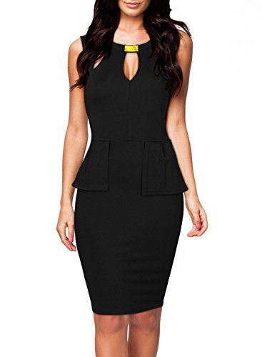 PAKULA Women's Keyhole with Metal Buckle Open-Chest Peplum Bodycon Pencil Party Dress